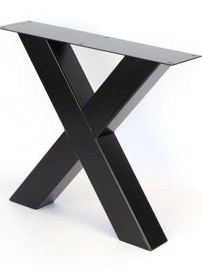 Basi In Ferro Per Tavoli.Gambe In Ferro X Colore Nero Per Tavolo Da Pranzo Fino A 250 Cm