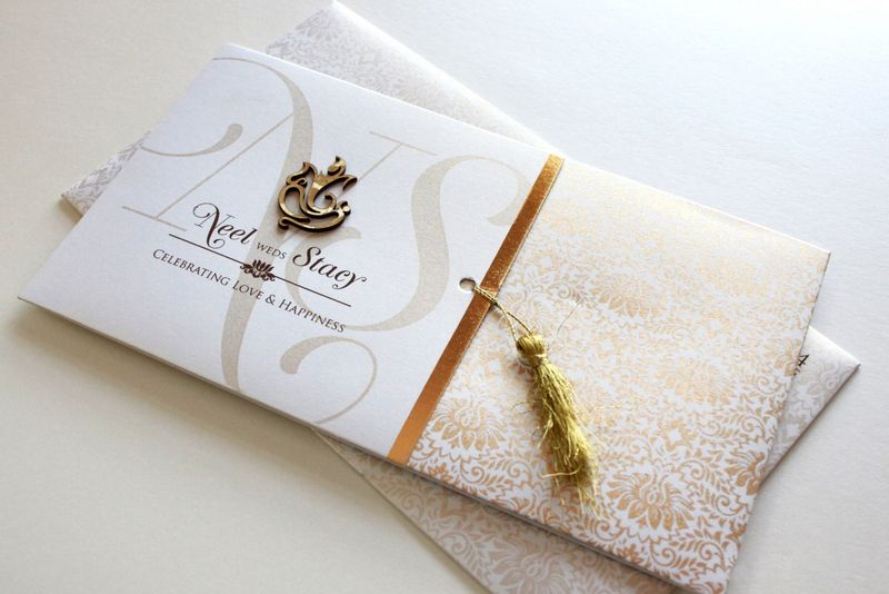 Designer White Wedding Card with Laser Cut logo Hindu Wedding