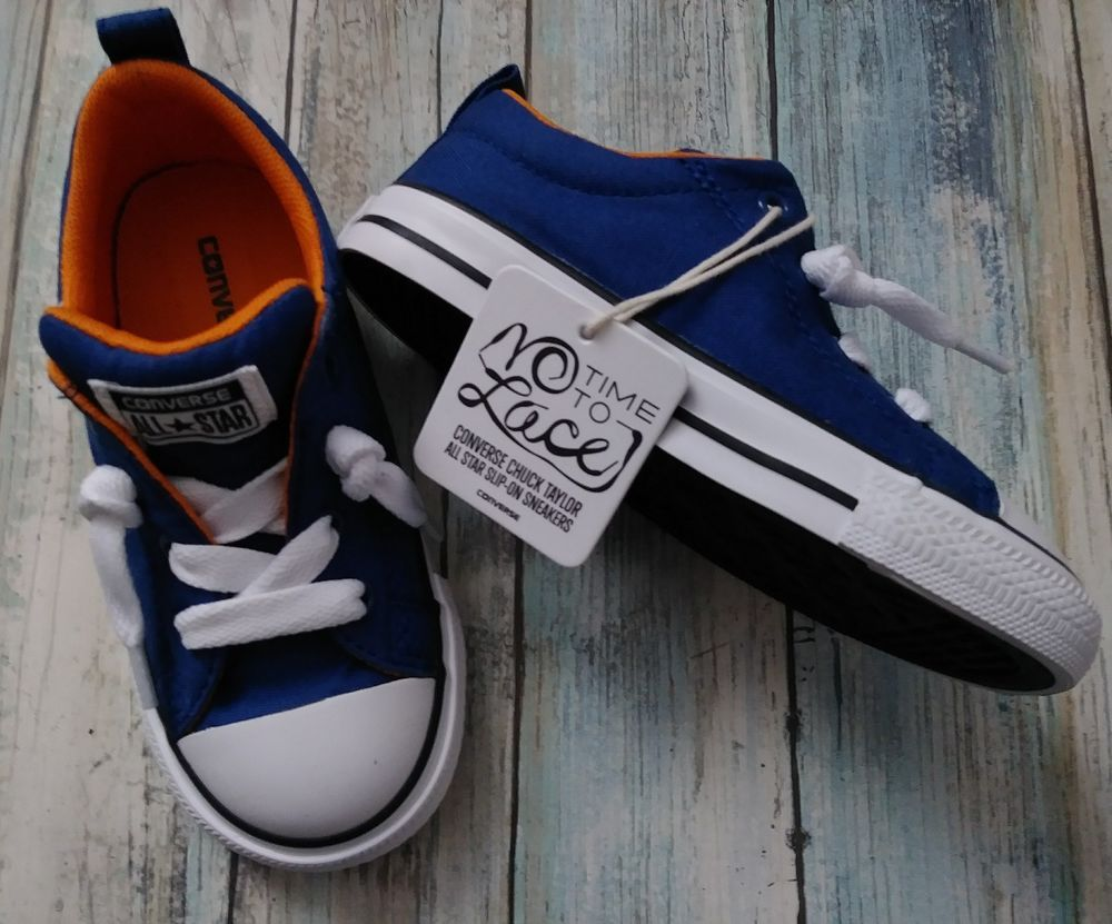 b4d42a84c16014 Converse Girls Boys Blue 9 All Star Slip-on Sneaker shoe No Time To lace  NWT  Converse