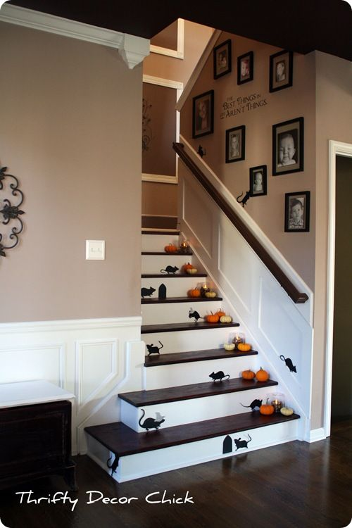 Martha Stewart Mice Silhouettes And Other Halloween Decoration Ideas Staircase Decor Home Stair Decor
