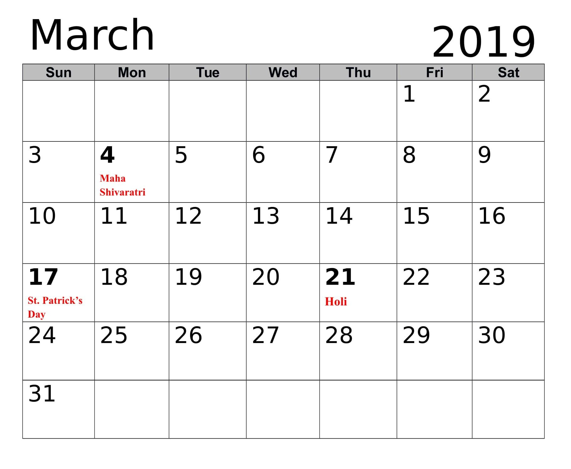 March Calendar With Holidays 2019 Calendar, 2019