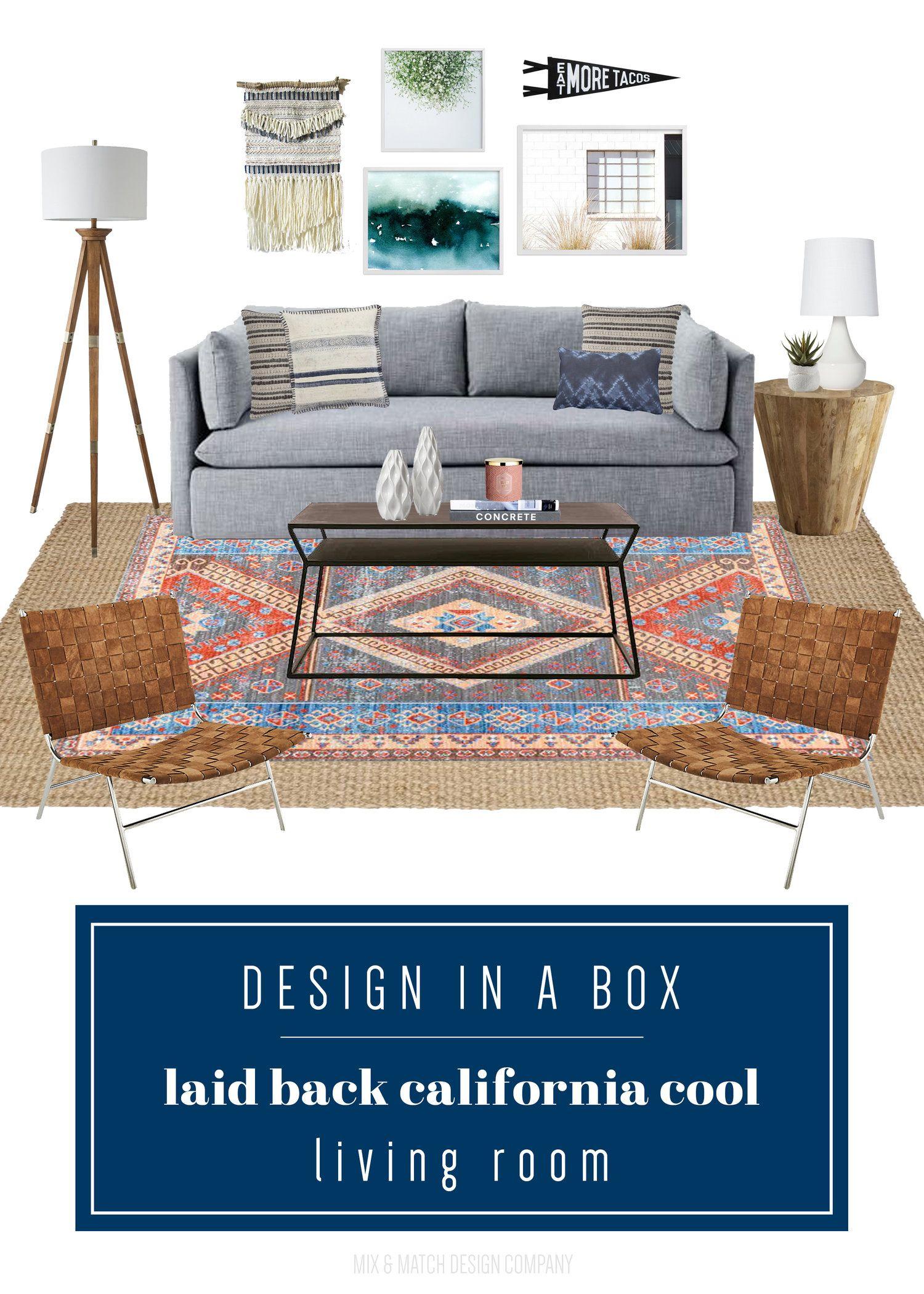 Design In A Box Laid Back California Cool Living Room Boho