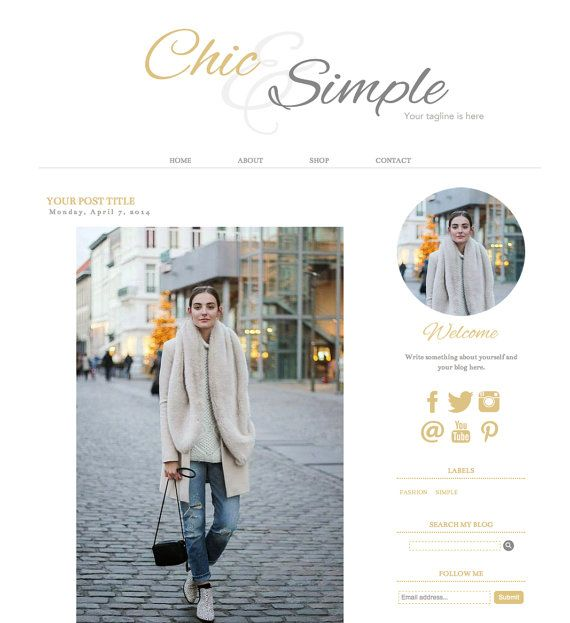 Blogger Template Premade Blog Theme Chic & Simple by AdrienDesign ...