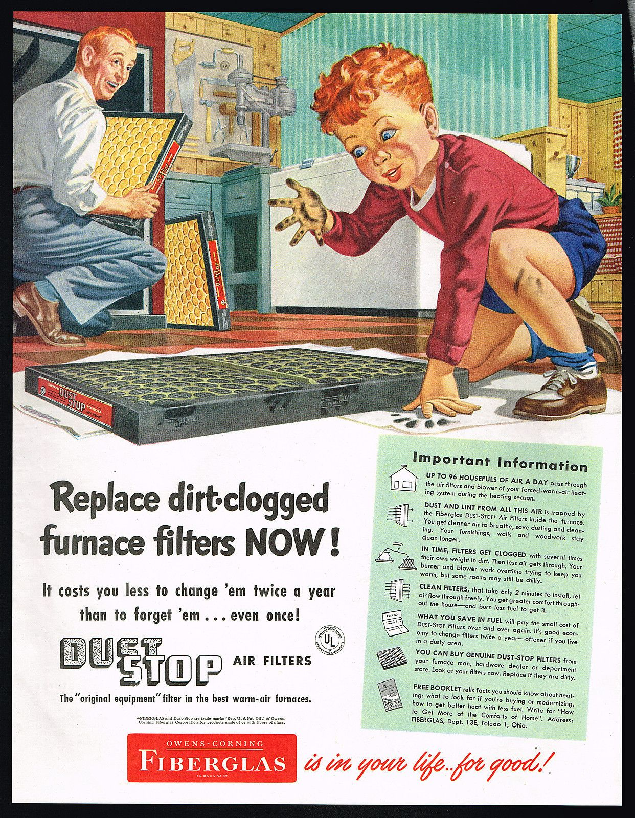 1951 Owens Corning Fiberglas Furnace Filters Redhead Boy