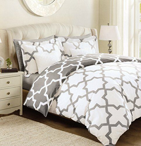 Max Studio Lattice Quatrefoil Pattern Full Queen Duvet Cover and Shams 3pc  Set, Gray Grey