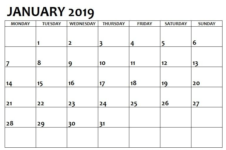 Print January 2019 Calendar Blank Pdf Template Printable