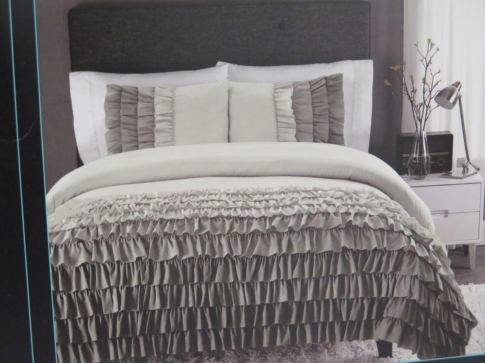 Cynthia Rowley Gray Ombre Ruffled Comforter Sham Set Twin