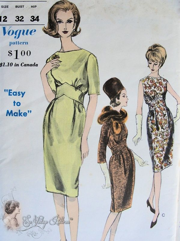 1960s Stunning Dress Pattern Easy To Make Vogue 5753 Vintage Sewing Pattern Bust 36