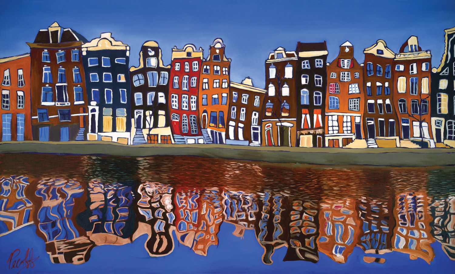Canal Homes Of Amsterdam Perfect Giclee Metal Art