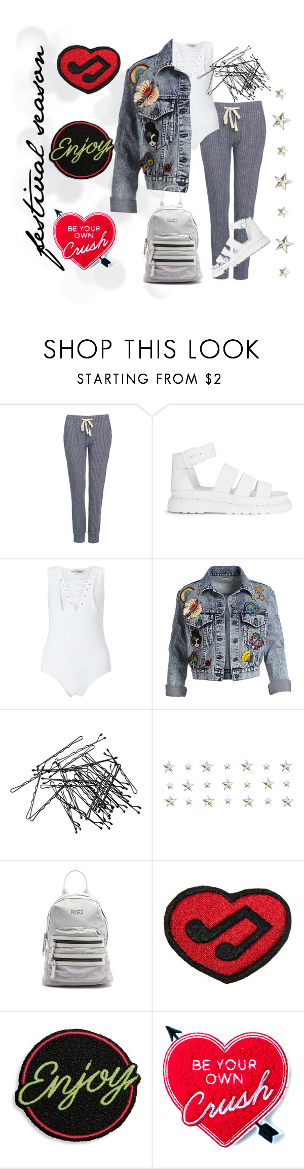 """Festival Season"" by stylequirk ❤ liked on Polyvore featuring Dr. Martens, Miss Selfridge, Alice + Olivia, H&M, Sol & Selene, Logophile, Marc Jacobs and Yvng Pearl"