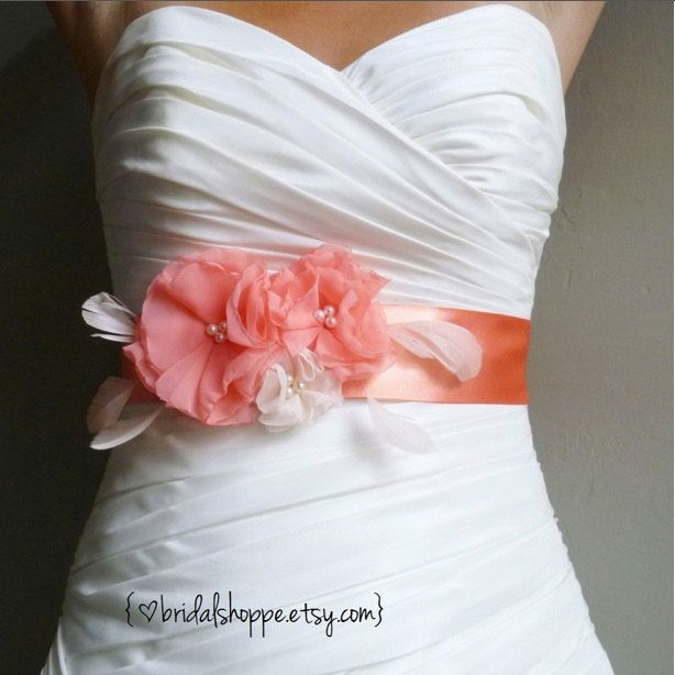 Wedding Sash Belt Lucky Three Coral Flowers on Coral Satin Bridal ...