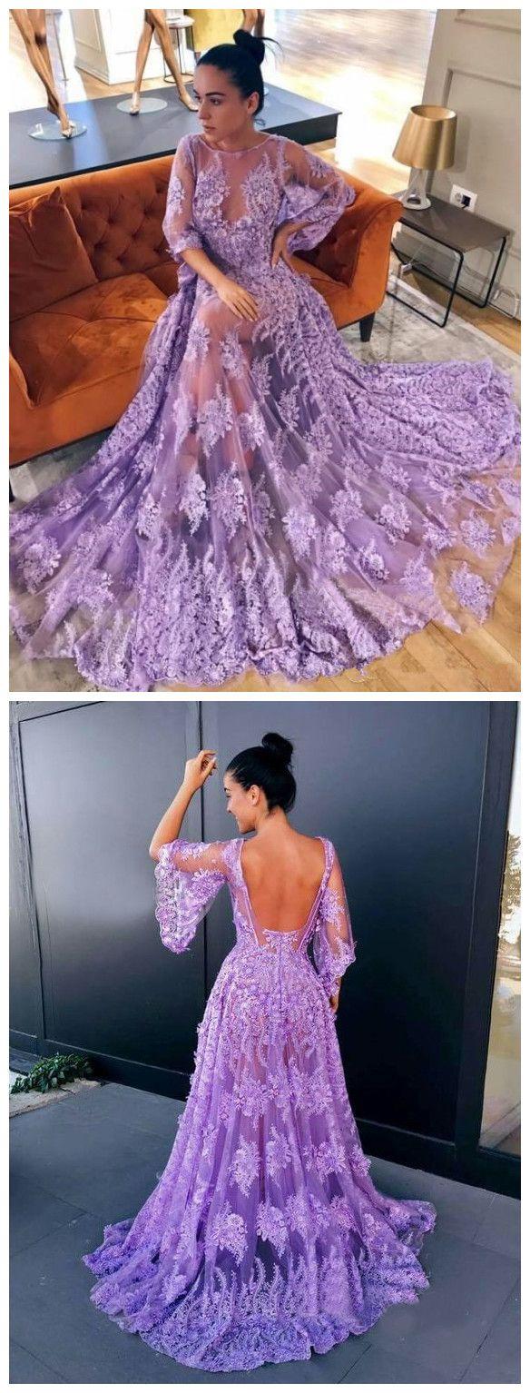 Aline scoop modern lace lavender half sleeve prom dress backless