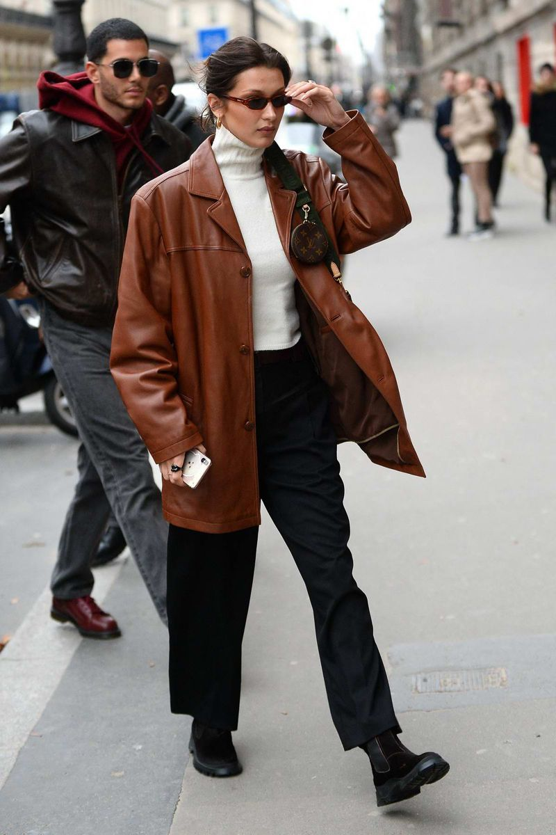 Bella Hadid Leather Jacket Street Style Leather Jacket Style Bella Hadid Outfits [ jpg ]