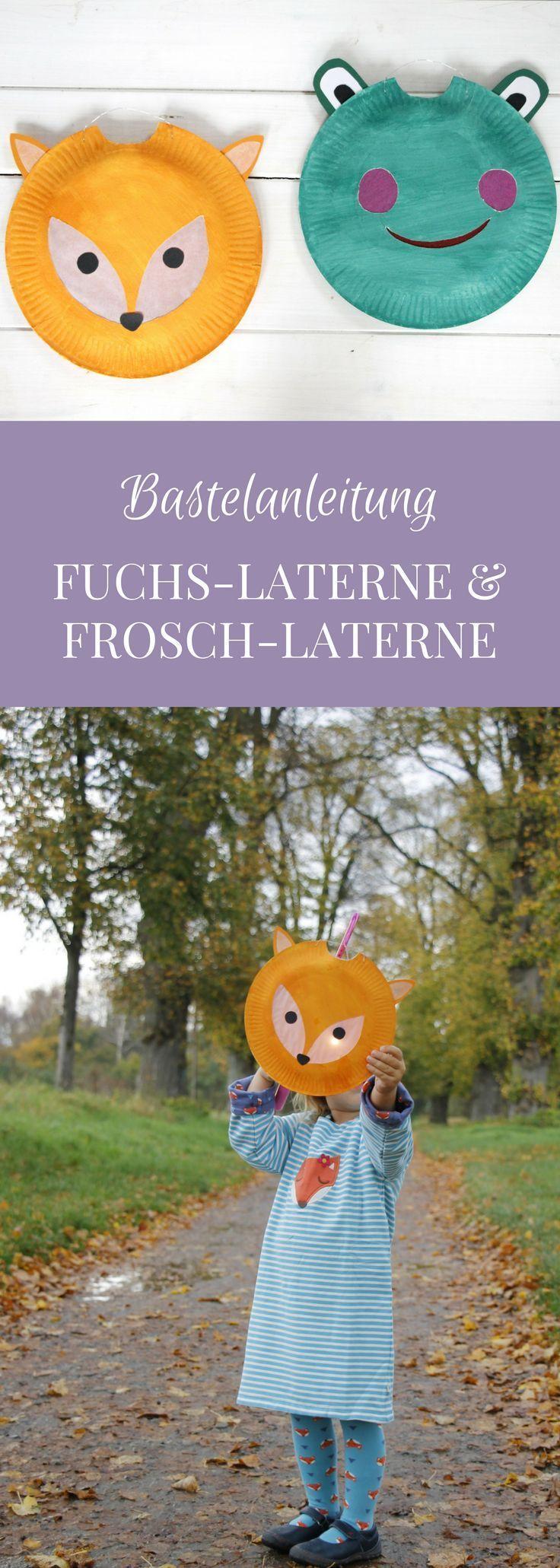DIY: Frosch-Laterne und Fuchs-Laterne basteln aus Papptellern #laternebastelnkinder