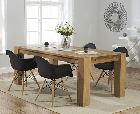 Madrid 200cm Solid Oak Extending Dining Table With Charles Eames Style Dsw Eiffel Tub Chairs