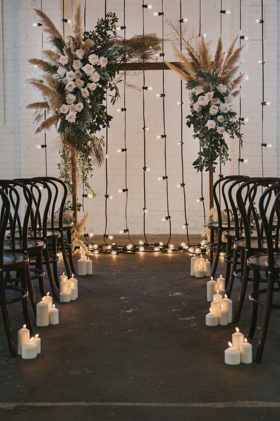 pasillo de velas altar boda