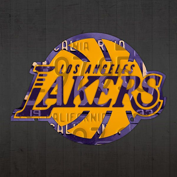 Los Angeles Lakers Basketball Team Retro Logo Recycled License Plate Art By Design Turnpike Los Angeles Lakers Basketball License Plate Art Lakers Basketball