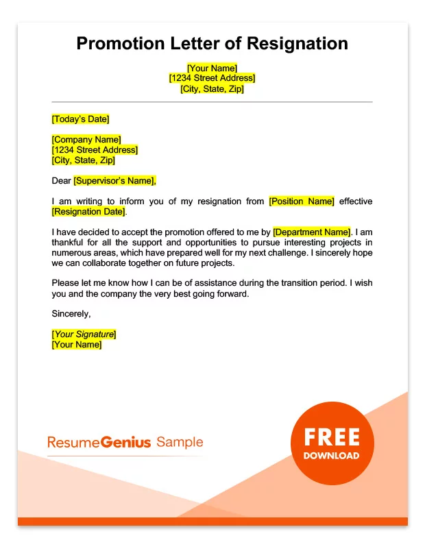CareerSpecific Resignation Letters Resignation letter