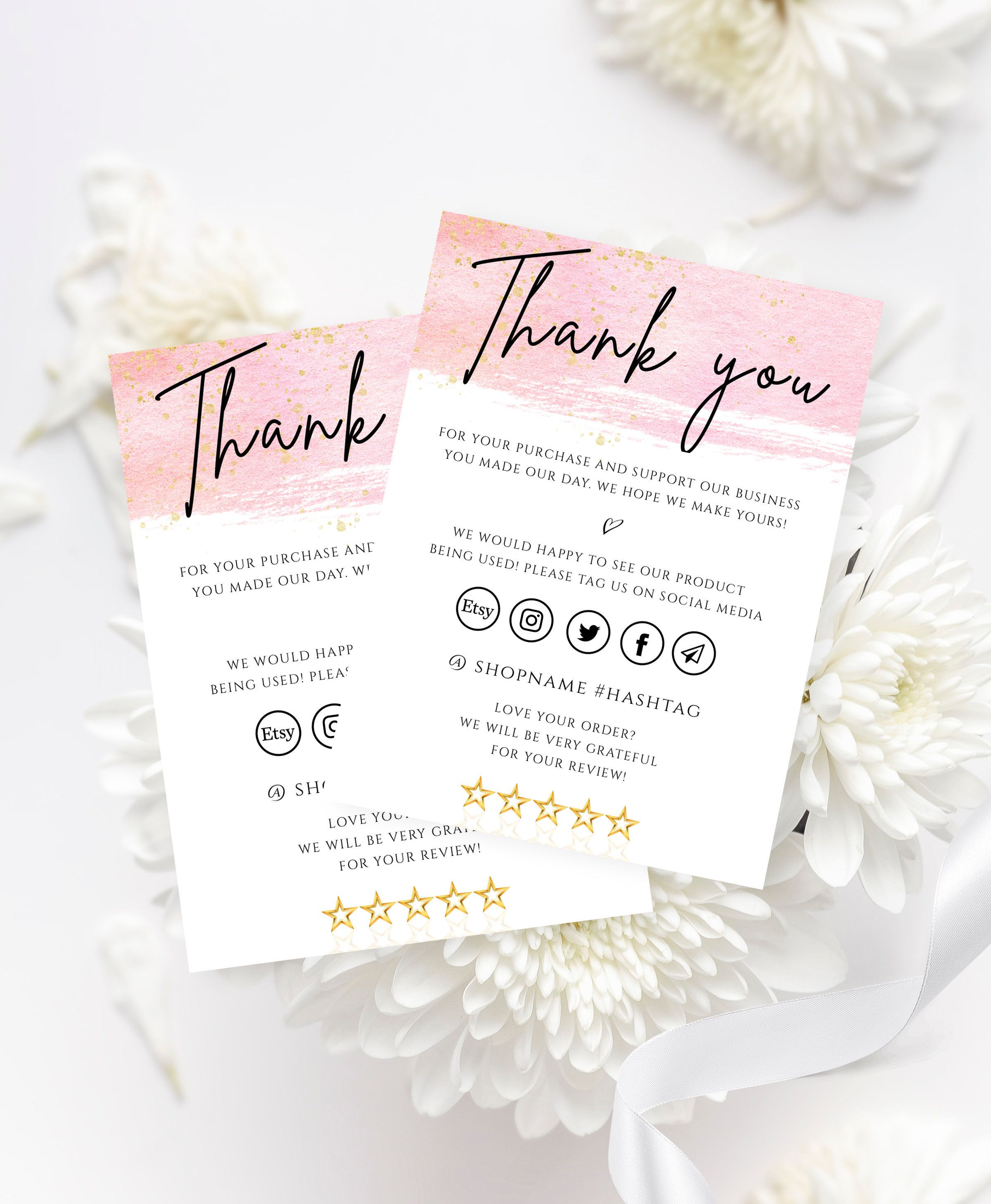 Rose Gold Thank You Cards Business Templates Editable Social Etsy Thank You Card Design Business Thank You Cards Order Business Cards