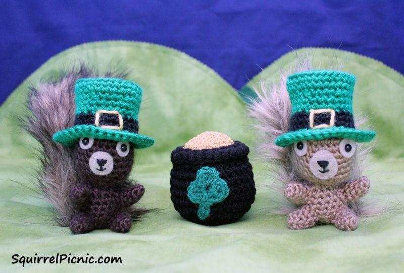 Free Amigurumi Leprechaun Pattern : St. patrick's day leprechaun hat for your squirrel friend