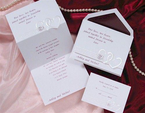 Heart To Heart In Burgundy Wedding Invitation Discount Wedding Invitations Wedding Invitations Quality Wedding Invitations