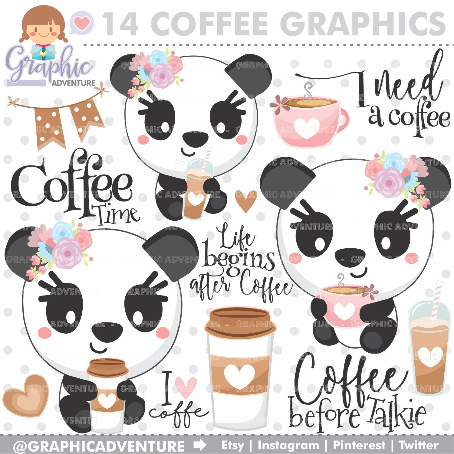 Coffee Clipart, Coffee Graphics, Panda Clipart, COMMERCIAL ...