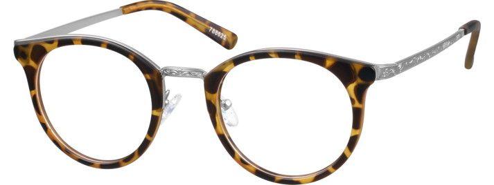628656f51dd Mixed Materials Full-Rim Frame Round Eyeglasses