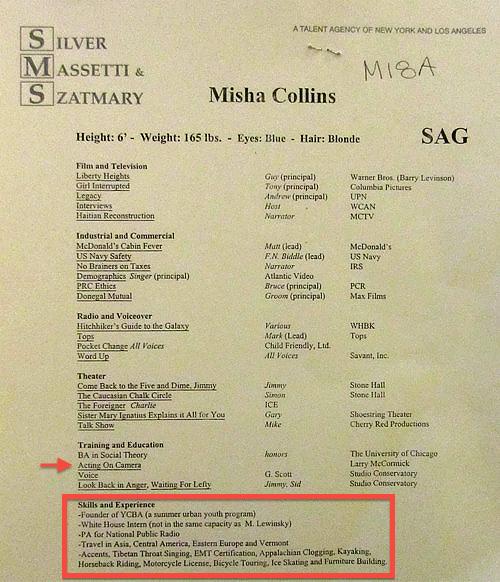 Misha Collins old resume