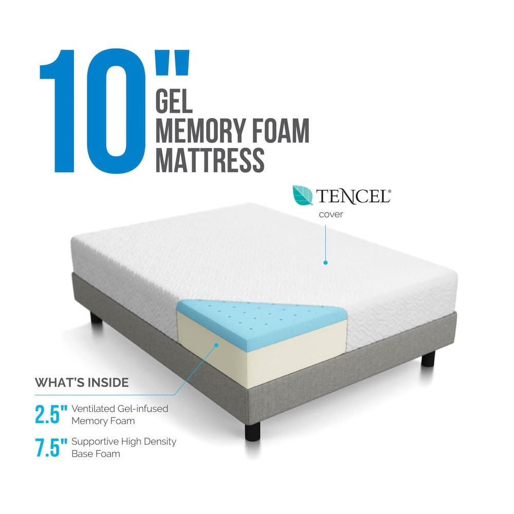Lucid Comfort Collection 10 Inch Surecool Gel Memory Foam Mattress Memory Foam Mattress Gel Memory Foam Gel Memory Foam Mattress
