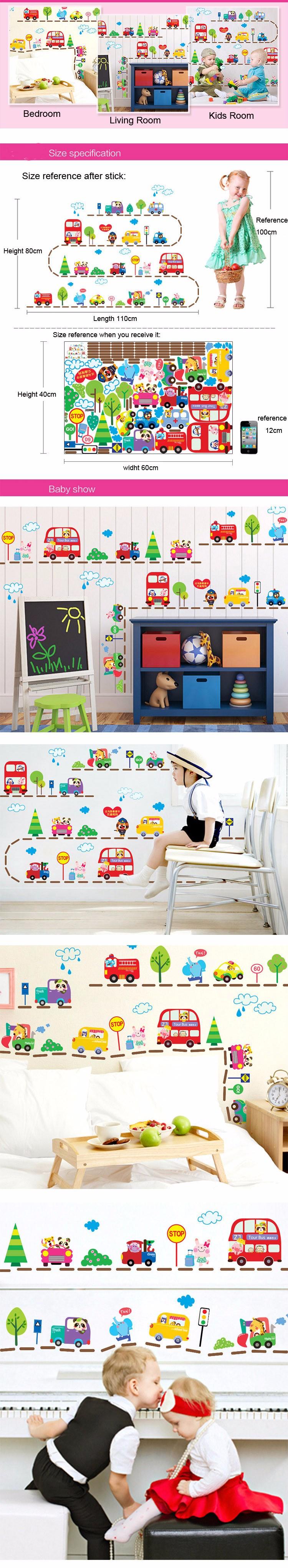 Car interior decoration toys   Hot Sale Cute Cartoon Cars Traffic Wall Sticker Baby Boys Room