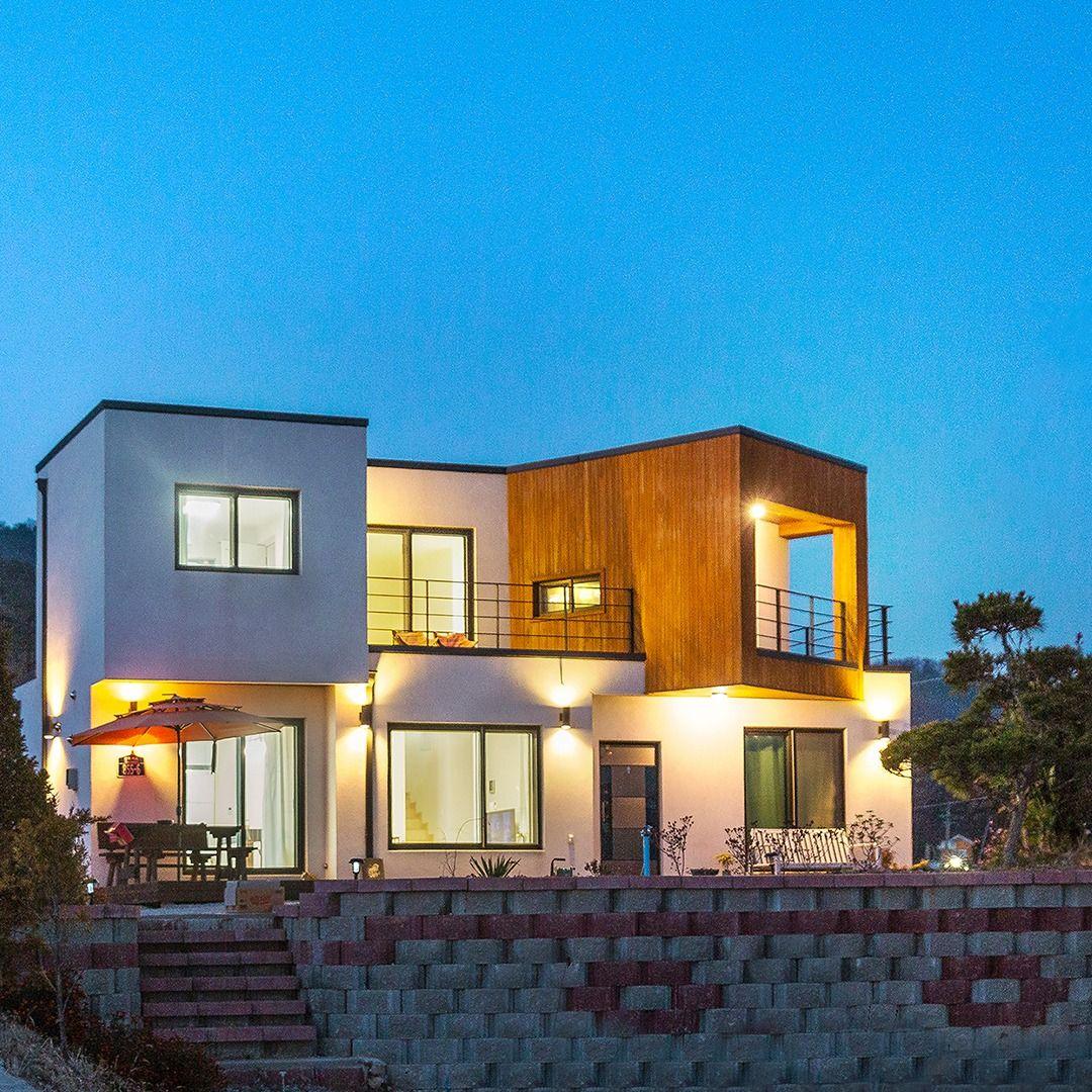 예쁜야경 전원주택 구경하기 콘크리트 집 집 디자인 집 스타일