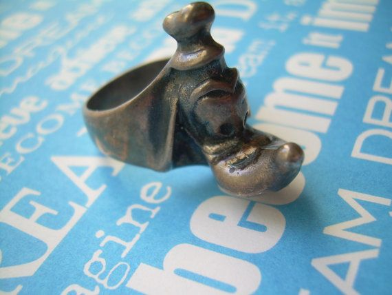 3D GOOFY Ring Vintage Sterling by CougarCoveFineGifts