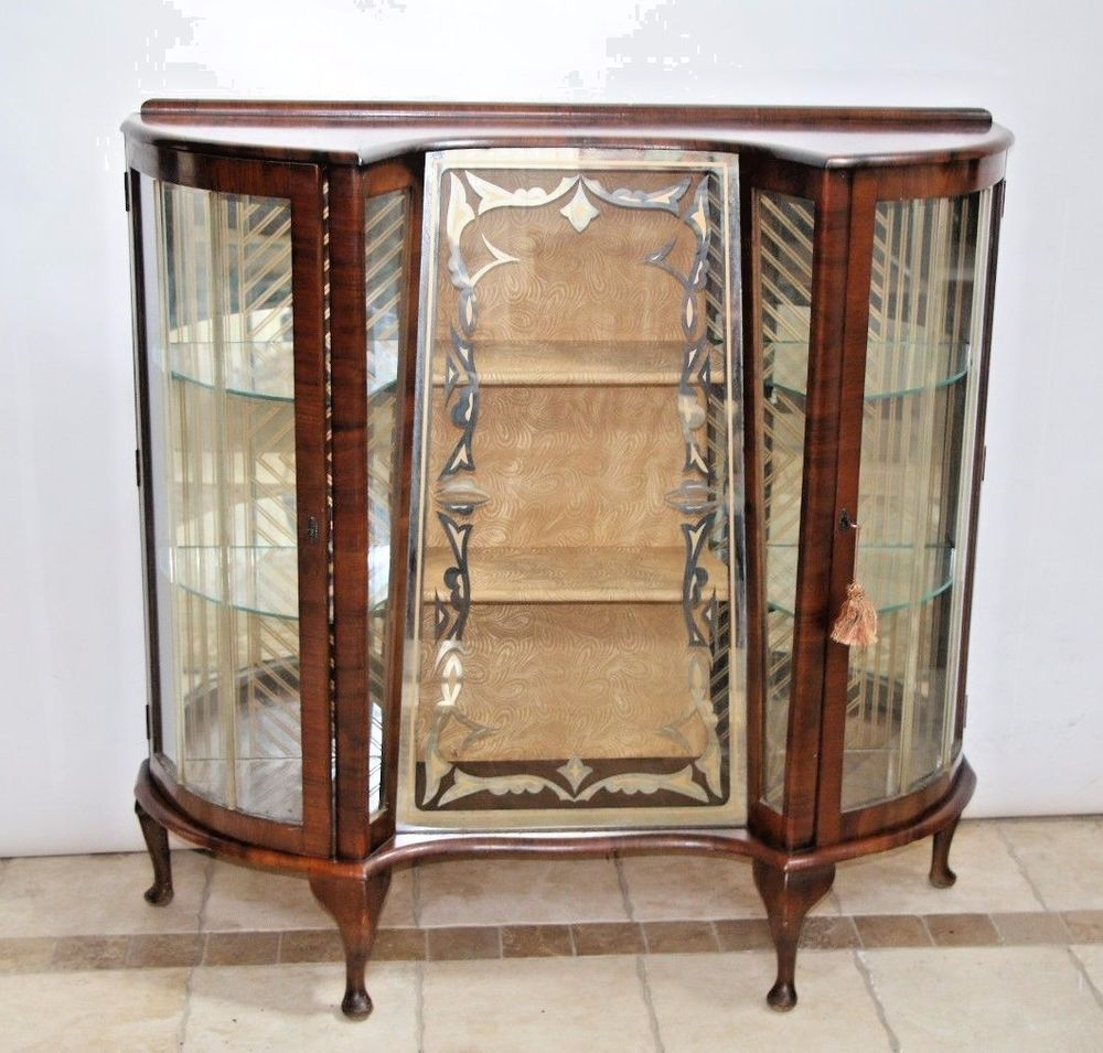 RARE Antique Mahogany Art Deco Barget Locking Key Curio Display China  Cabinet | Antiques, Furniture - RARE Antique Mahogany Art Deco Barget Locking Key Curio Display