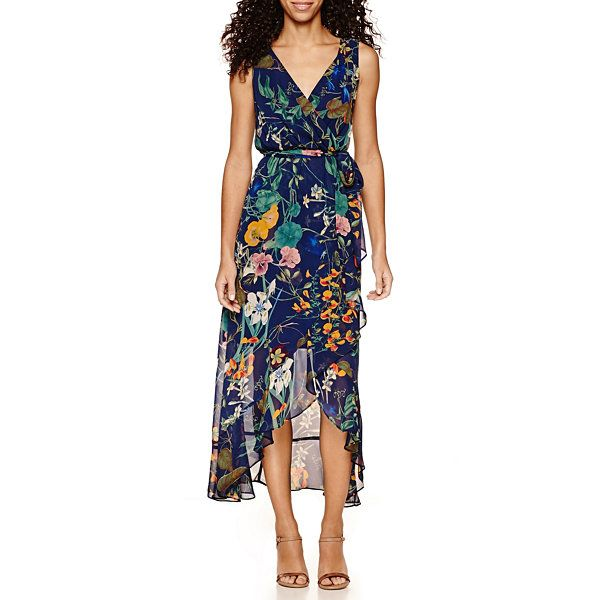 7c851c64522 Sangria Sleeveless Belted High-Low Maxi Dress-Petites - JCPenney ...