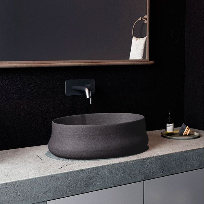Vasque Beton 39 Cm Gris Anthracite Greece Vasque Vasque Salle De Bain Vasque A Poser