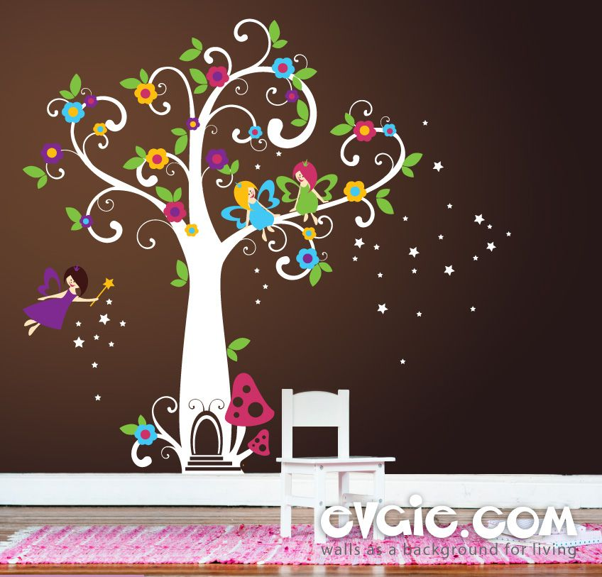 Fairy Wall Decals   Fairyland Tree With Flowers And Stars   Evgie