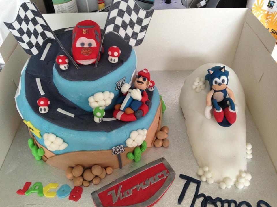 Three Way Birthday Cake Mario Kart Cars Lightning Mcqueen And Sonic The Hedgehog Cake Birthday Cake Birthday