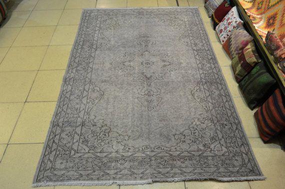 Gray Overdyed Carpet Vintage Turkish Carpet Handmade Wool Turkish Carpet Overdyed Carpet Turkish Rug