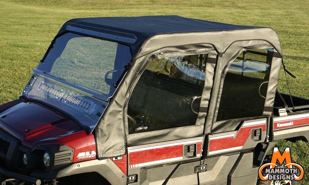 kawasaki mule pro-fxt soft doors / middle & rear window combo