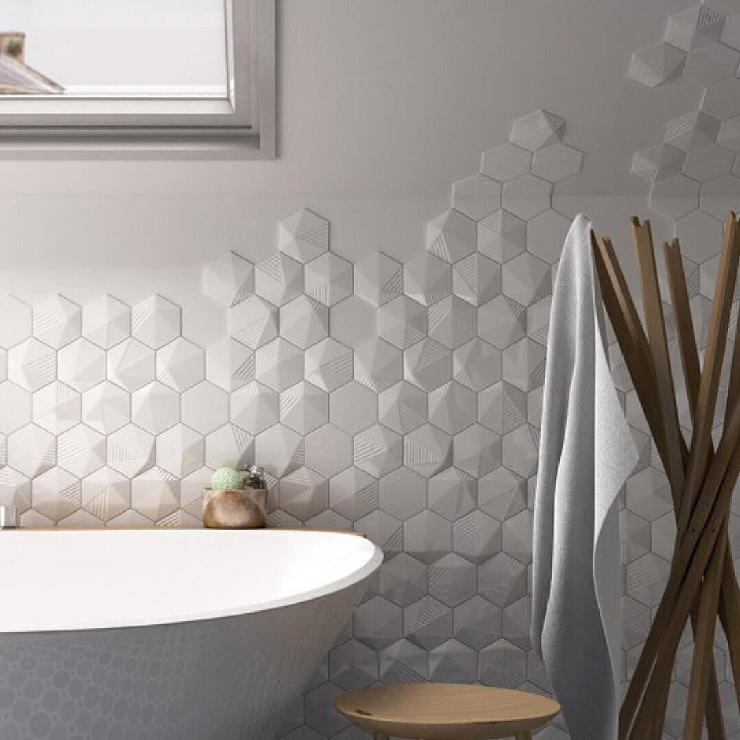 Tile Of The Week Check Out Our Story For More Info Scale S Three Dimensional Angular Tiles Will Instill 3d Tiles Bathroom Hexagon Tiles Hexagon Tile Bathroom
