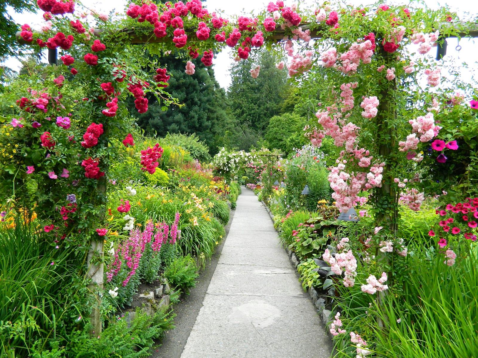 The Gardens are bordered on three sides by water and right