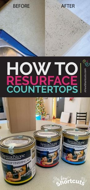 On a budget? Learn how to resurface your countertops with this Low VOC, Low Cost kit. You can have stone surface in less than 48 hours! | @AFewShortcuts #diy #home #fixerupper