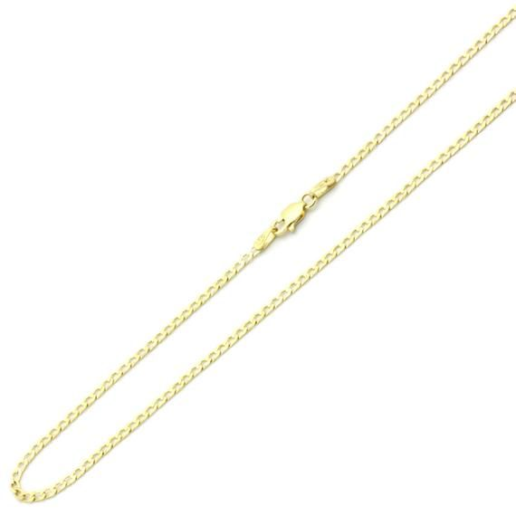 14K Yellow Gold Chain 3mm White Pave Curb Chain Necklace 16, 18, 20, 22, 24 Inches