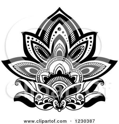 Clipart Of A Black And White Henna Lotus Flower 3 Royalty Free