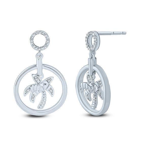 Zales Diamond Accent Double Clover Drop Earrings in Sterling Silver TGMO8B7
