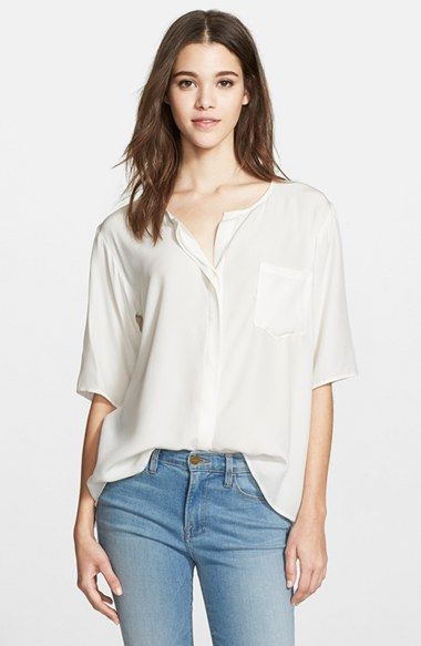 20c9cd5a8df9 Frame Denim  Le Elbow Sleeve  Washed Silk Charmeuse Blouse available at   Nordstrom