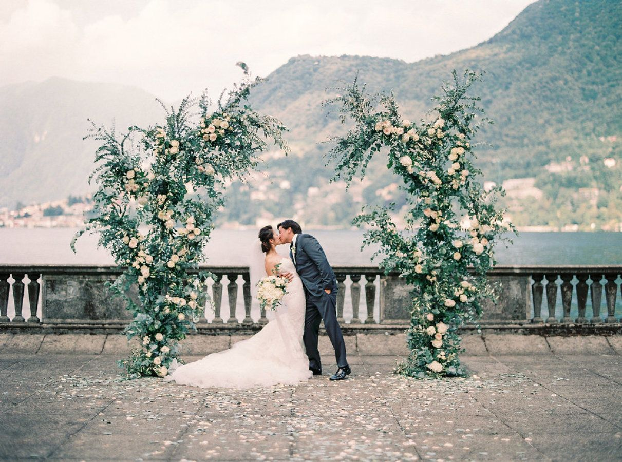 When You Marry At The Same Venue As John Legend And Chrissy Teigen Stylemepretty Wedding Lake Como Wedding Gazebo Wedding