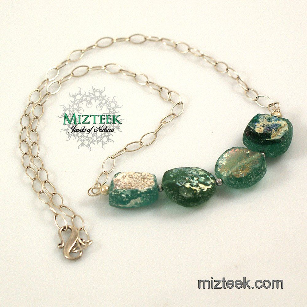 Ancient Roman Glass Fragments On Sterling Silver Necklace