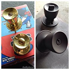 How to paint door knobs! We have ALOT of brass in our house that I have been…