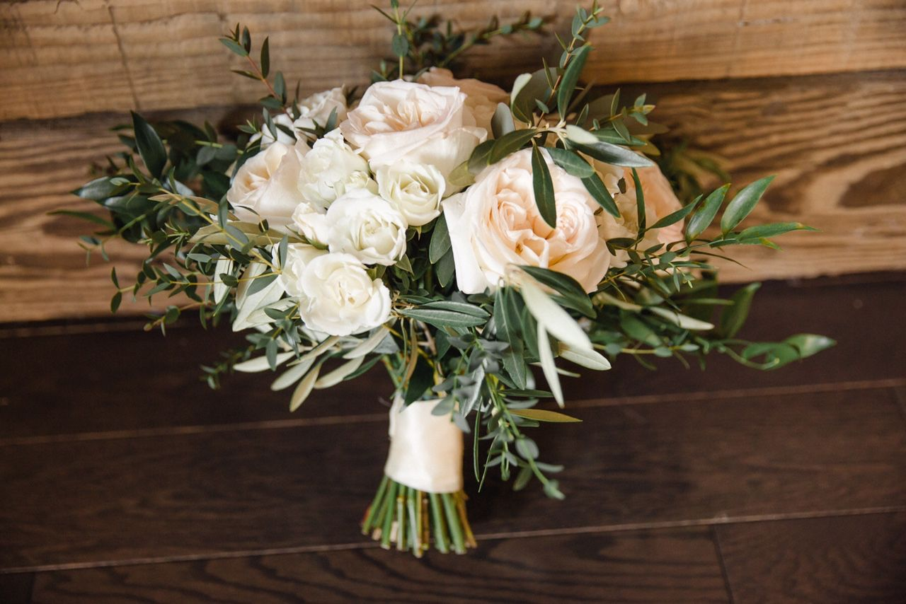 Garden Style Hand Tied Bridal Bouquet Featuring White O 39 Hara And Majolika Spray Roses With Olive